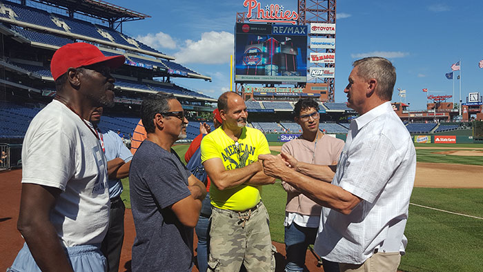 Phillies' Dickie Noles addresses Journey of Hope Project participants before the Phillies game Sept. 21, 2017.